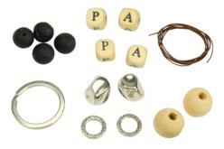 """Porte-clés """"Papa"""" en perles de lave - Kit pour 1 porte-clés - Porte-clés pour bijoux – 10doigts.fr - 2"""