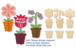 Pots de fleurs en bois 3D