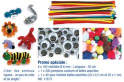 Mega pack créatif : pompons, chenilles et yeux mobiles assortis - Chenilles, cure-pipe – 10doigts.fr - 2