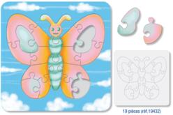 Puzzle PAPILLON en carton blanc avec fond, à colorier