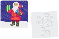 """Puzzle """"Père Noël"""" à colorier - Puzzles à colorier, dessiner ou peindre – 10doigts.fr"""