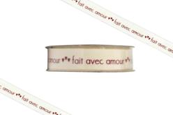 """Ruban """"Fait avec amour"""" - 2 mètres - Rubans et cordons – 10doigts.fr"""