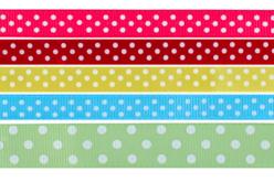 Rubans à pois multicolores - Set de 5 - Rubans et ficelles – 10doigts.fr