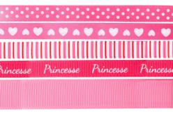 Rubans en camaïeu rose - Set de 5 - Rubans et ficelles – 10doigts.fr