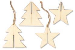 Sapin 3D ou étoile 3D à suspendre - Décorations de Noël en bois – 10doigts.fr - 2