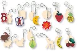 Set de 12 porte-clefs assortis, en bois naturel à décorer