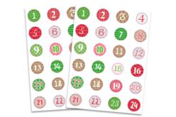 Set de 2 planche de gommettes rondes calendrier de l'Avent