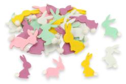 Set de 24 stickers lapins en feutrine, couleurs assorties