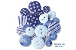 Set de 28 boutons en acrylique ø assortis, camaïeu bleu