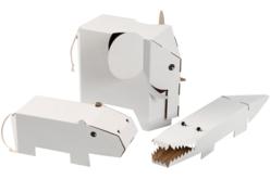 Animaux géants à décorer - Set de 3 - Support blanc – 10doigts.fr