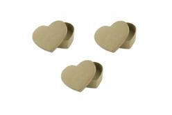 Set de 3 boîtes coeur classique en carton 5 x 5 cm - hauteur 2,8 cm