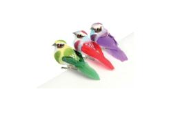 Oiseaux colorés sur pince - Set de 3 - Décorations à coller – 10doigts.fr