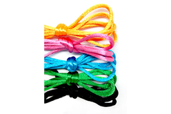 Set de 5 cordelettes en satin d'1 mètre  ø 2 mm 5 couleurs assorties
