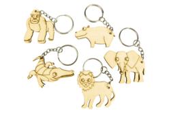 """Porte-clés en bois """"Animaux savane"""" - 5 animaux - Porte-clefs en bois – 10doigts.fr - 2"""