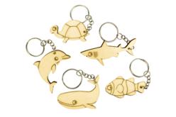 """Porte-clés en bois """"Animaux de la mer"""" - 5 animaux - Porte-clefs en bois – 10doigts.fr - 2"""