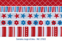 Set de 5 rubans en camaïeu rouge et bleu