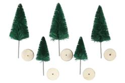 Sapins artificiels miniatures - 5 pièces - Crèches et villages de Noël – 10doigts.fr