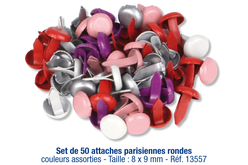 Set de 50 attaches parisiennes rondes, couleurs assorties