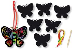 Set de 6 papillons en carte à gratter + 3 grattoirs + 6 rubans