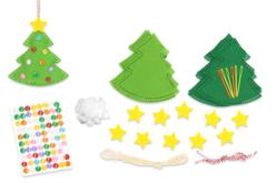 Suspensions sapins en feutrine - Set de 6 - Kits activités Noël – 10doigts.fr - 2