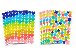 Set de 8 planches de gommettes étoiles et cœurs, couleurs tendances
