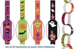 Set de 80 bandelettes de papier Halloween