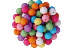 Set de 80 perles rondes en acrylique, 8 couleurs assorties