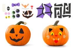 Stickers en caoutchouc mousse - Kit pour décorer 4 citrouilles - Halloween – 10doigts.fr