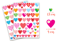 Gommettes coeurs fantaisie - 4 planches - Stickers, gommettes coeurs – 10doigts.fr