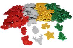Stickers de Noël en caoutchouc pailleté - Set de 200 - Gommettes et stickers Noël – 10doigts.fr - 2