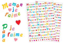 "Stickers lettres ""Maman, Papa""- 518 stickers - Bullet Journal, Planner – 10doigts.fr"