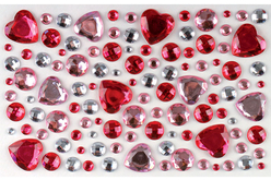 Strass adhésifs ronds et coeurs rose - 106 strass - Décorations Coeurs – 10doigts.fr