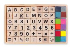 Tampons alphabet et chiffres + 12 encreurs - Tampons + encreurs – 10doigts.fr