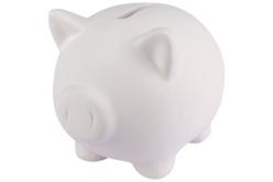 Tirelire cochon en terre cuite blanche - Supports en Céramique et Terre Cuite – 10doigts.fr