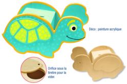 Tirelire tortue en bois naturel à décorer