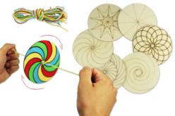 Toupies en bois à décorer - Set de 6 - Support pré-dessiné – 10doigts.fr