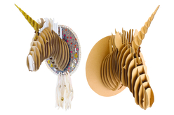 Trophée tête de licorne en carton à assembler - Animaux en papier mâché – 10doigts.fr