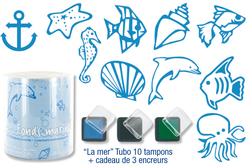 "Tubo de 10 tampons ""La mer"" + cadeau de 3 encreurs"