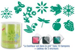 """Tubo de 10 tampons """"Le bonheur est dans le pré"""" + cadeau de 3 encreurs"""