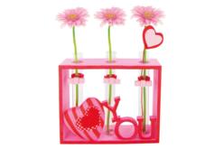 Socle en bois avec 3 soliflores en verre - Pot de fleurs – 10doigts.fr - 2