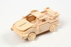 Voiture 3D en bois naturel à monter - Maquettes en bois – 10doigts.fr