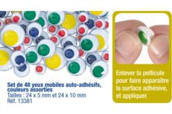Yeux mobiles colorés adhésifs - Set de 48 - Yeux à coller et à piquer – 10doigts.fr - 2