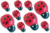 Mini coccinelles en bois peint - Lot de 25 - Motifs peints - 10doigts.fr