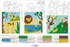 Set de 3 cartes sable assorties LA JUNGLE + 8 tubes de sable, couleurs assorties - Activités Montessori - 10doigts.fr