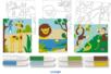 Set de 3 cartes sable assorties LA JUNGLE + 8 tubes de sable, couleurs assorties - Activités Montessori - 10doigts.fr