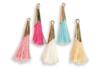 Pompons colorés avec embout métal doré - 5 pièces - Bijoux Ethnique – 10doigts.fr