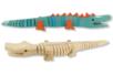 Crocodile articulé en bois naturel - Animaux en bois à décorer – 10doigts.fr