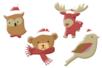 Animaux de Noël chapeautés en bois décoré - Set de 8 - Motifs peint – 10doigts.fr