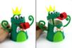 Marionnette grenouille avec un gobelet en carton - Animaux – 10doigts.fr