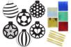 Cartes à métalliser Boules de Noël - 6 cartes assorties - Suspensions et boules de Noël – 10doigts.fr